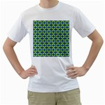 Blue Yellow Green Swirl Pattern Men s T-Shirt (White) (Two Sided) Front