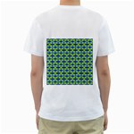 Blue Yellow Green Swirl Pattern Men s T-Shirt (White) (Two Sided) Back