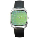 Blue Yellow Green Swirl Pattern Square Metal Watch Front