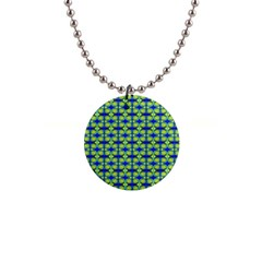 Blue Yellow Green Swirl Pattern Button Necklaces by BrightVibesDesign