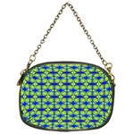 Blue Yellow Green Swirl Pattern Chain Purses (One Side)  Front