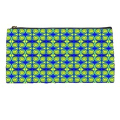 Blue Yellow Green Swirl Pattern Pencil Cases by BrightVibesDesign