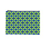 Blue Yellow Green Swirl Pattern Cosmetic Bag (Large)  Front