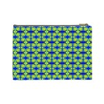 Blue Yellow Green Swirl Pattern Cosmetic Bag (Large)  Back