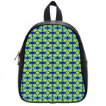 Blue Yellow Green Swirl Pattern School Bag (Small) Front