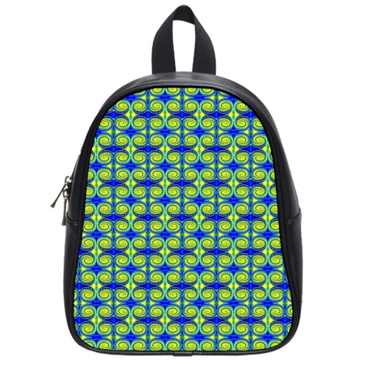 Blue Yellow Green Swirl Pattern School Bag (Small)