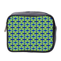 Blue Yellow Green Swirl Pattern Mini Toiletries Bag 2 Side