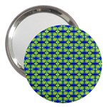 Blue Yellow Green Swirl Pattern 3  Handbag Mirrors Front