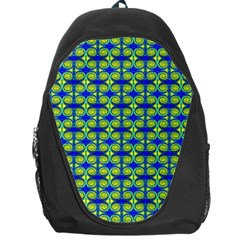 Blue Yellow Green Swirl Pattern Backpack Bag by BrightVibesDesign