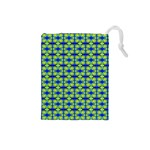 Blue Yellow Green Swirl Pattern Drawstring Pouches (Small)  Front
