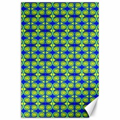 Blue Yellow Green Swirl Pattern Canvas 24  X 36  by BrightVibesDesign