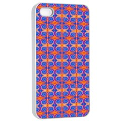 Blue Orange Yellow Swirl Pattern Apple Iphone 4/4s Seamless Case (white) by BrightVibesDesign