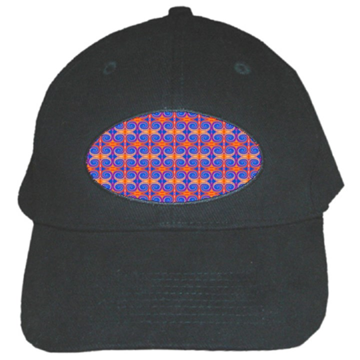 Blue Orange Yellow Swirl Pattern Black Cap