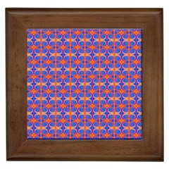 Blue Orange Yellow Swirl Pattern Framed Tiles by BrightVibesDesign