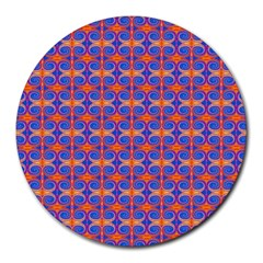 Blue Orange Yellow Swirl Pattern Round Mousepads