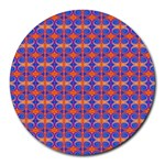 Blue Orange Yellow Swirl Pattern Round Mousepads Front