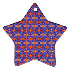 Blue Orange Yellow Swirl Pattern Ornament (star) by BrightVibesDesign