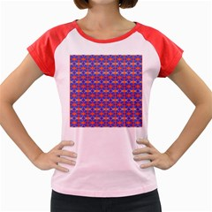 Blue Orange Yellow Swirl Pattern Women s Cap Sleeve T Shirt