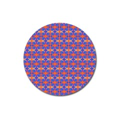 Blue Orange Yellow Swirl Pattern Magnet 3  (round)