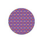 Blue Orange Yellow Swirl Pattern Magnet 3  (Round) Front