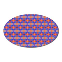 Blue Orange Yellow Swirl Pattern Oval Magnet by BrightVibesDesign