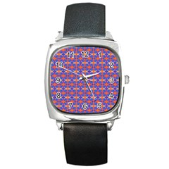 Blue Orange Yellow Swirl Pattern Square Metal Watch