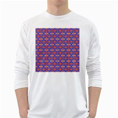 Blue Orange Yellow Swirl Pattern White Long Sleeve T Shirts by BrightVibesDesign