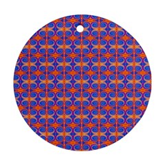 Blue Orange Yellow Swirl Pattern Round Ornament (two Sides) by BrightVibesDesign