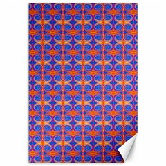 Blue Orange Yellow Swirl Pattern Canvas 12  X 18   by BrightVibesDesign