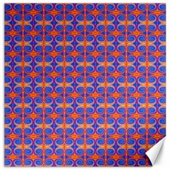 Blue Orange Yellow Swirl Pattern Canvas 16  X 16   by BrightVibesDesign