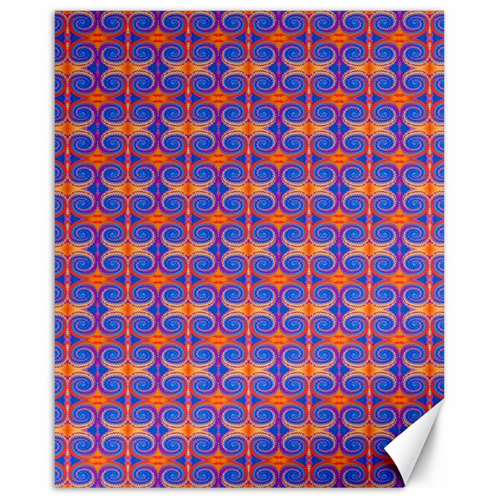 Blue Orange Yellow Swirl Pattern Canvas 16  x 20