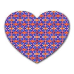 Blue Orange Yellow Swirl Pattern Heart Mousepads