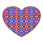 Blue Orange Yellow Swirl Pattern Heart Mousepads Front