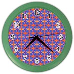 Blue Orange Yellow Swirl Pattern Color Wall Clocks Front