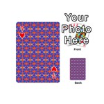 Blue Orange Yellow Swirl Pattern Playing Cards 54 (Mini)  Front - Heart7