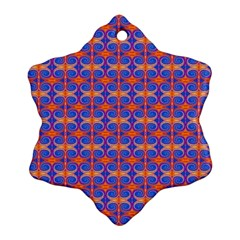 Blue Orange Yellow Swirl Pattern Snowflake Ornament (two Sides) by BrightVibesDesign