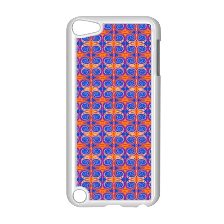 Blue Orange Yellow Swirl Pattern Apple iPod Touch 5 Case (White)