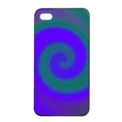 Swirl Green Blue Abstract Apple Iphone 4/4s Seamless Case (black)