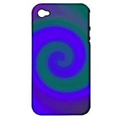 Swirl Green Blue Abstract Apple Iphone 4/4s Hardshell Case (pc+silicone)
