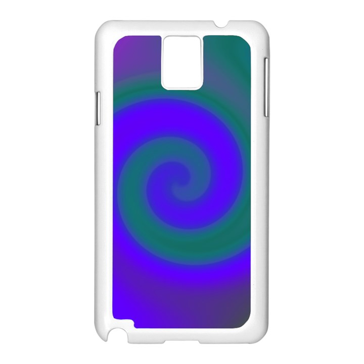 Swirl Green Blue Abstract Samsung Galaxy Note 3 N9005 Case (White)