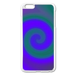 Swirl Green Blue Abstract Apple Iphone 6 Plus/6s Plus Enamel White Case by BrightVibesDesign