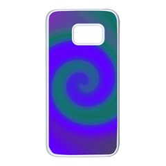 Swirl Green Blue Abstract Samsung Galaxy S7 White Seamless Case by BrightVibesDesign
