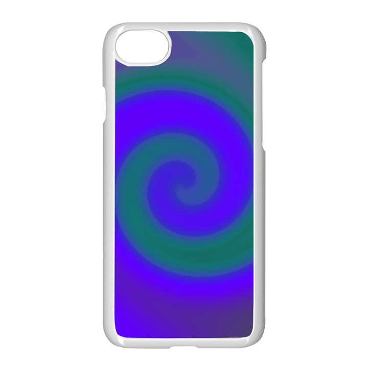 Swirl Green Blue Abstract Apple iPhone 7 Seamless Case (White)