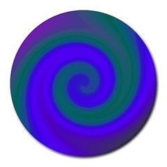 Swirl Green Blue Abstract Round Mousepads by BrightVibesDesign