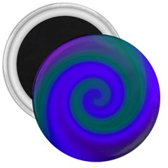 Swirl Green Blue Abstract 3  Magnets