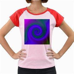 Swirl Green Blue Abstract Women s Cap Sleeve T Shirt by BrightVibesDesign