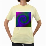 Swirl Green Blue Abstract Women s Yellow T-Shirt Front