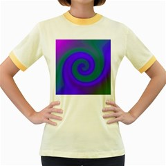 Swirl Green Blue Abstract Women s Fitted Ringer T Shirts