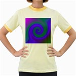 Swirl Green Blue Abstract Women s Fitted Ringer T-Shirts Front
