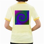 Swirl Green Blue Abstract Women s Fitted Ringer T-Shirts Back